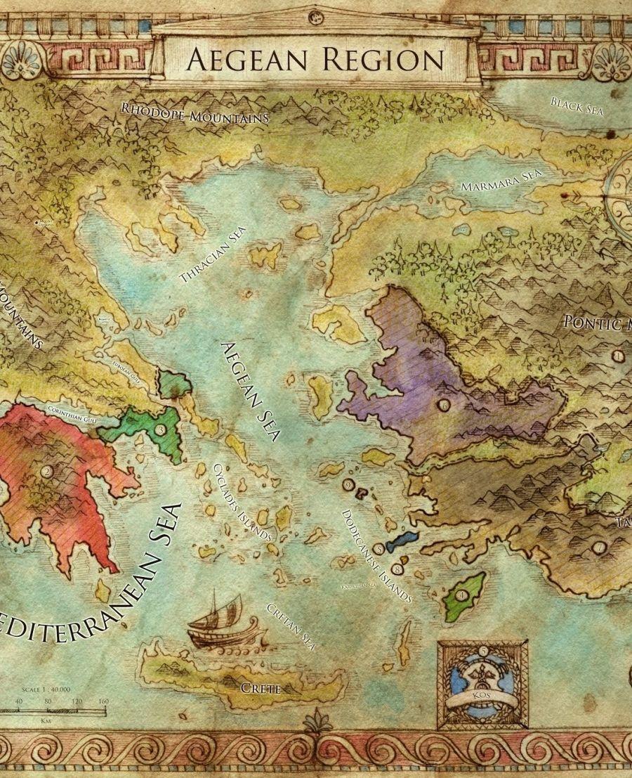 Aegean Regional Map Swords of Kos Fantasy Campaign Setting