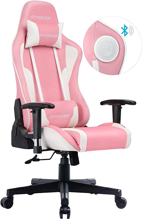 Video Racing Style Gaming Chair Office Computer Swivel Executive Chair Pink