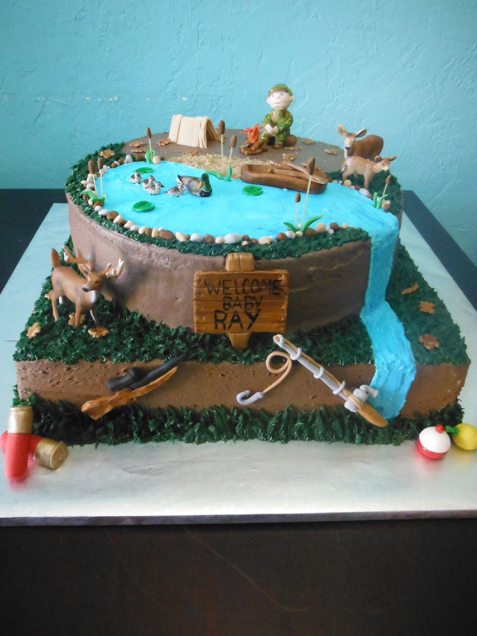 Huntingfishing cake My cakes Pinterest Fish Cake and Fishing