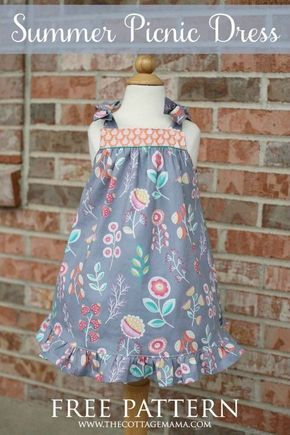 Summer Picnic Dress. FREE pattern from The Cottage Mama!   Sewing ...