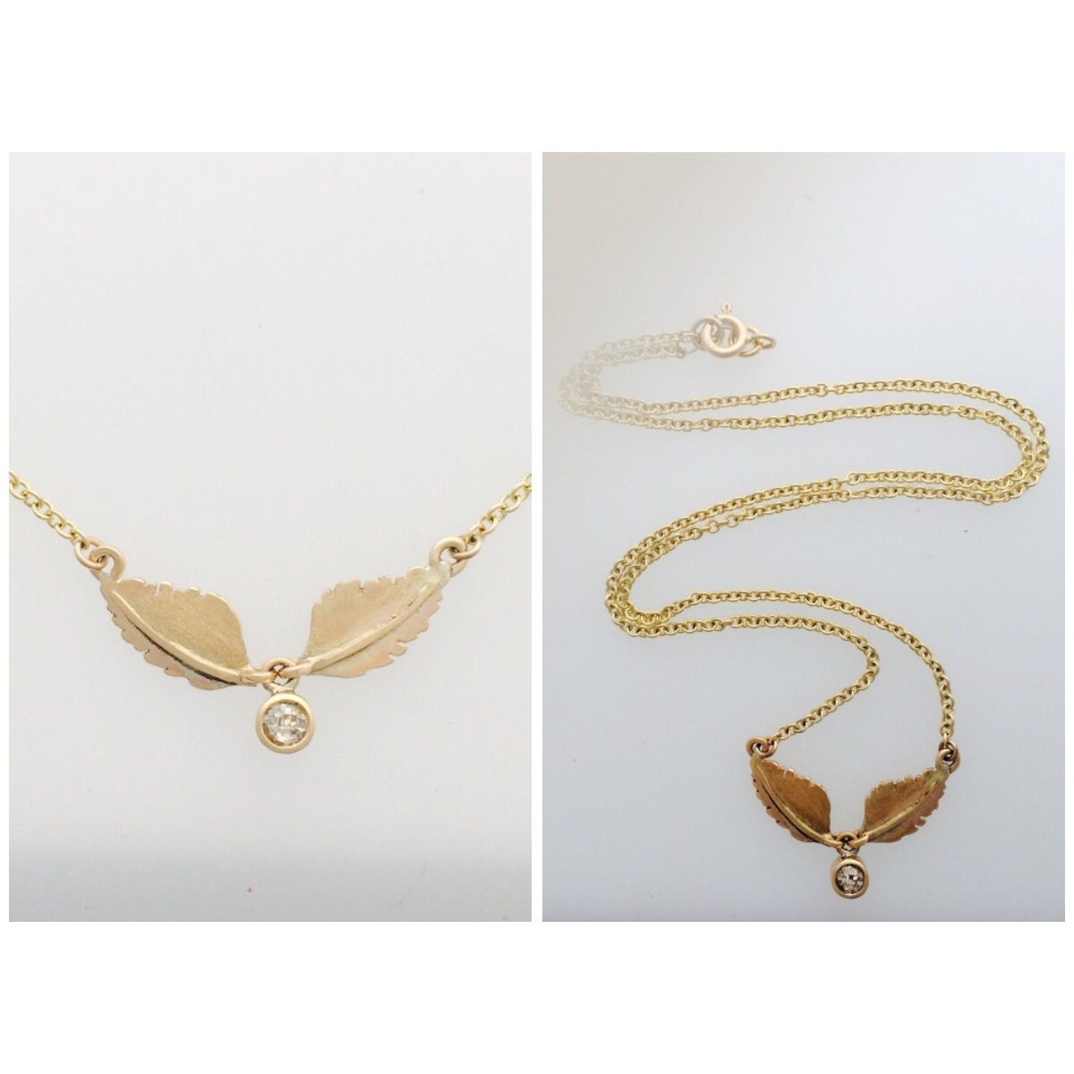 Fresh out the workshop 9ct yellow gold old cut champagne diamond leaf necklace.