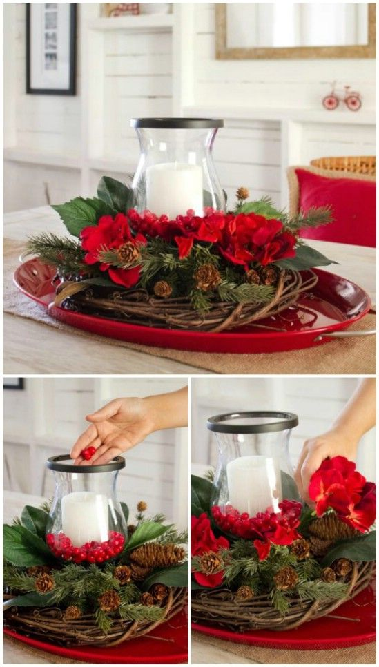 21 Beautifully Festive Christmas Centerpieces You Can Easily Diy Christmas Table Decorations Christmas Arrangements Christmas Centerpieces Diy