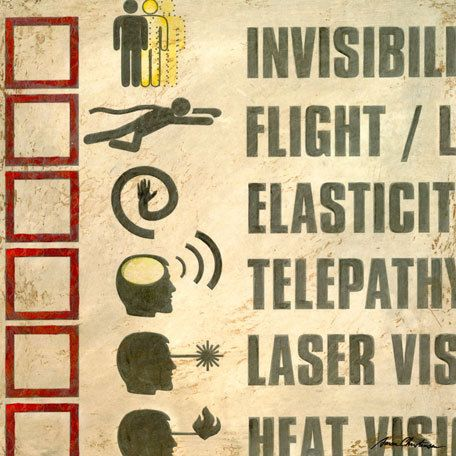 Superhero Wall Art - Super Powers Checklist I Wall Art by Aaron ...