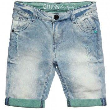 Guess Boys Long Blue Denim Shorts At Childrensalon Com Celana Levis