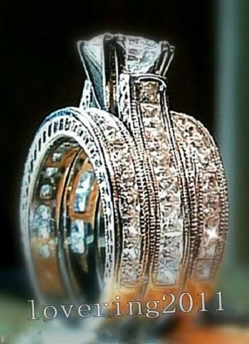 Popular Victoria Wieck Engagement Princess cut mm Topaz Simulated Diamond KT White Gold Filled Wedding Band