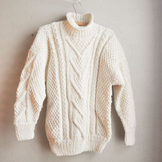 Vintage Amazing Chunky Cable Knit Wool Aran Boyfriend Sweater Made ...