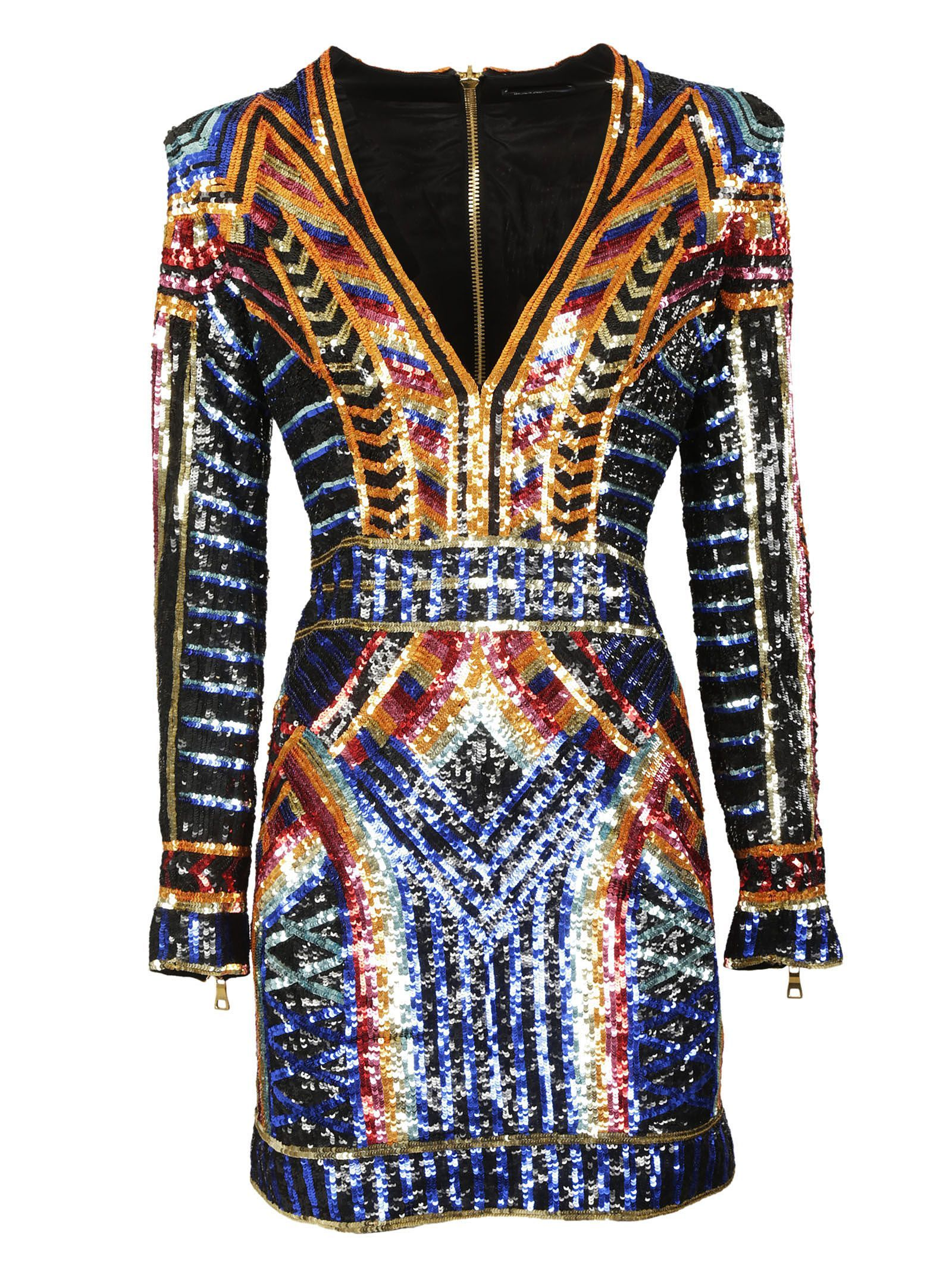 8b40732d Sequin Dress from Balmain: Multicolor Sequin Dress with v-shaped neck, long  sleeves