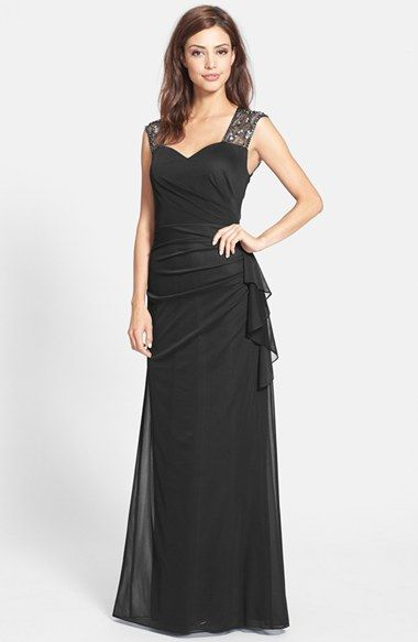 37dc327c466 Only black.v prettyPatra Embellished Matte Chiffon A-Line Gown available at   Nordstrom