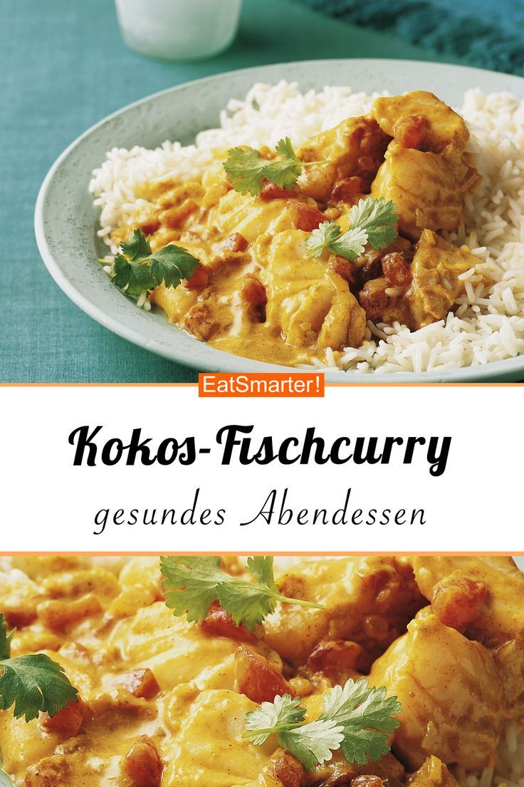 Fischcurry mit Kokosmilch und Reisbeilage -
