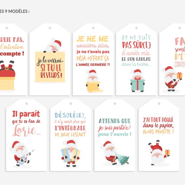 Lot de 9 tags pour cadeaux de noël   humour | Noël humour