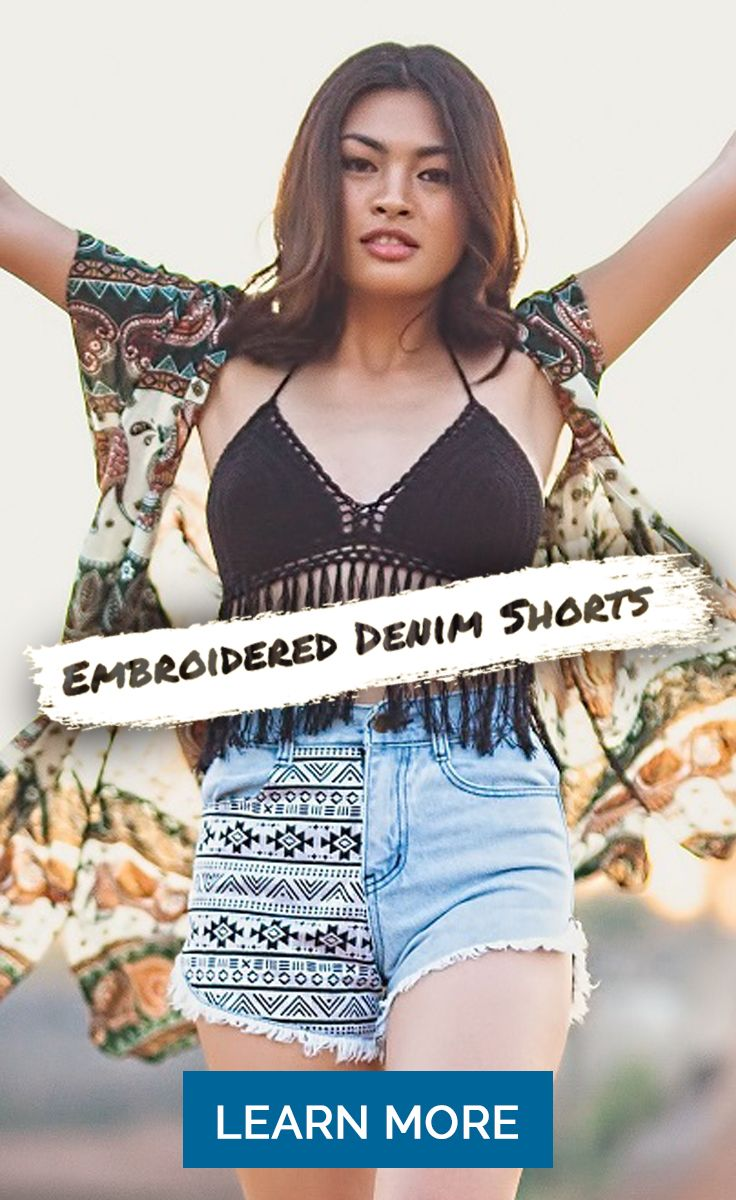 Don't miss your chance to grab a pair of our stunning new embroidered denim shorts - the perfect piece for a bohemian summer!