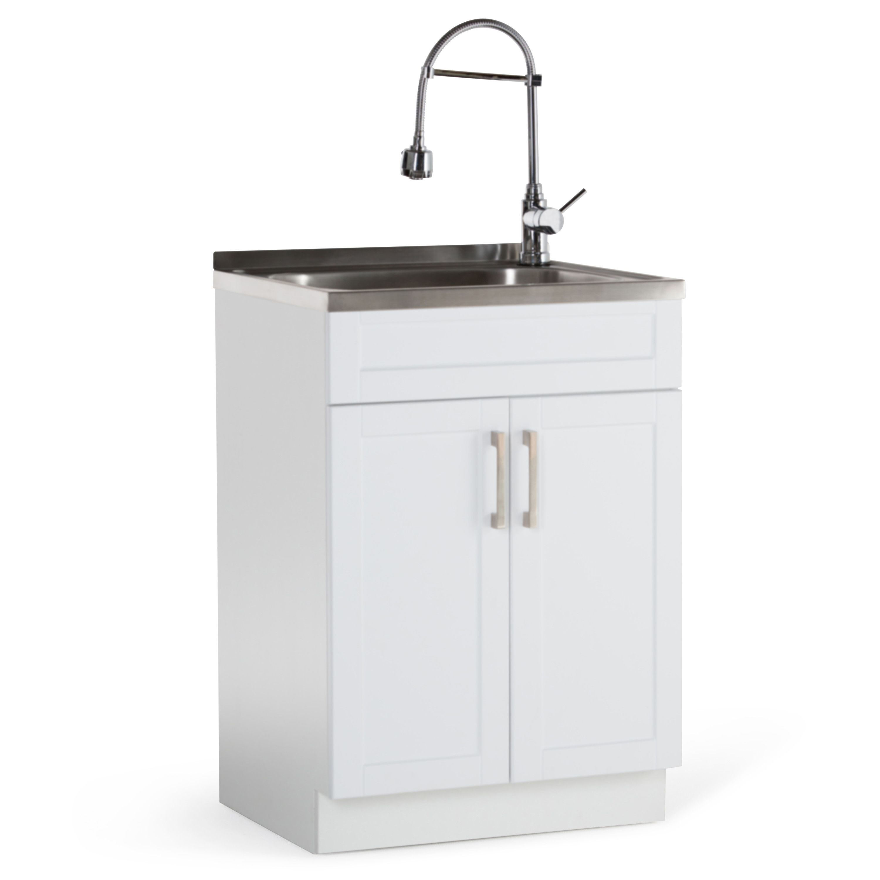 Hennessy 23 6 X 19 7 Freestanding Laundry Sink With Faucet Stainless Steel Sinks Laundry Cabinets Clean Stainless Steel Sink