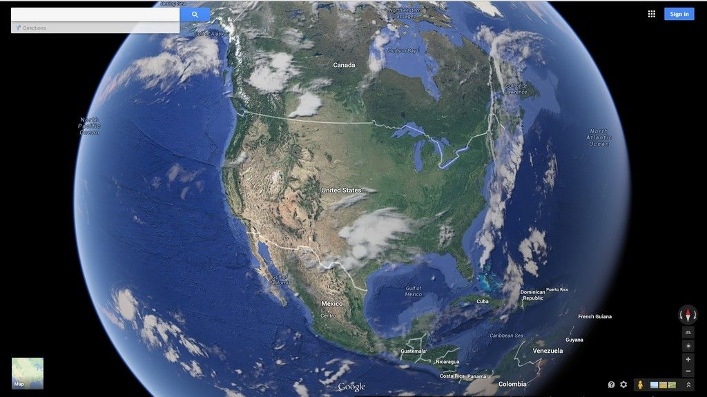 Go to Google Maps. Click on the satellite view and zoom out as much Zoom In Satellite Maps on
