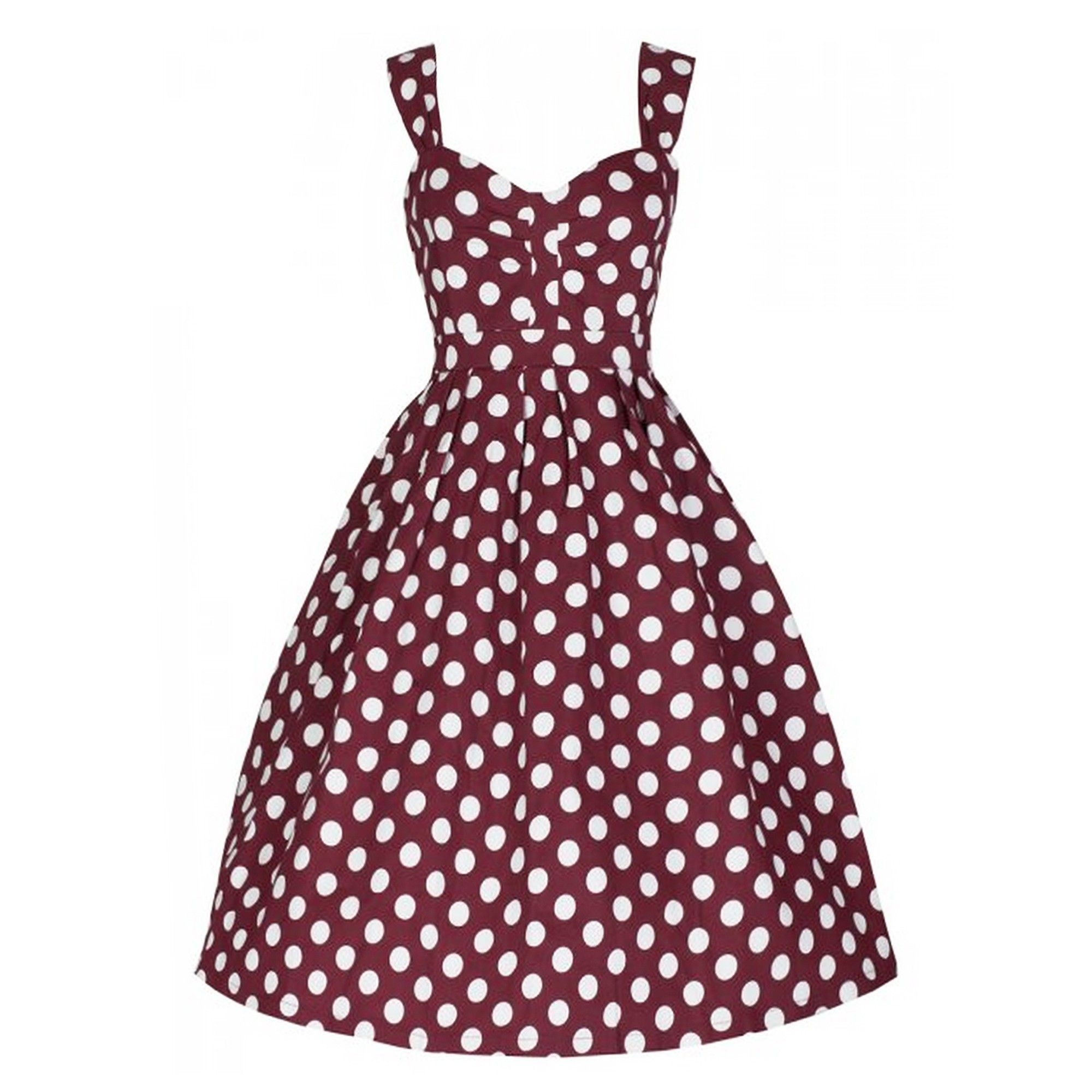 This classic burgundy polkadot dress evokes fun and summer, perfect for any special occasion. Its fitted waistline and pleated flared skirt enhances your silhouette and makes it perfect for any occasion. The measurement is from the shoulder strap to the hem. Please follow the size chart to measure and select your size.