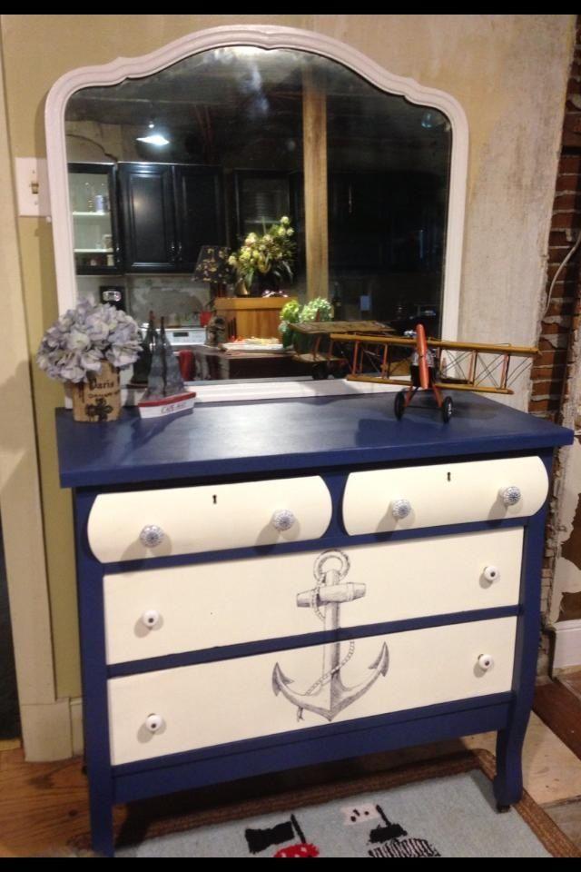 makeover nautical hometalk furniture dresser painted