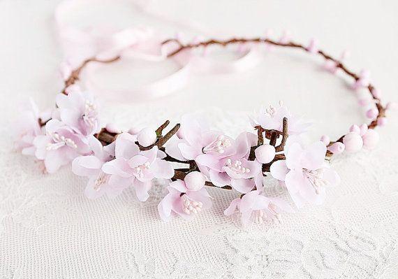 Cherry Blossom Crown Spring Wedding Halo Blush Boho Head Etsy Flower Girl Crown Boho Head Wreath Cherry Blossom Crown