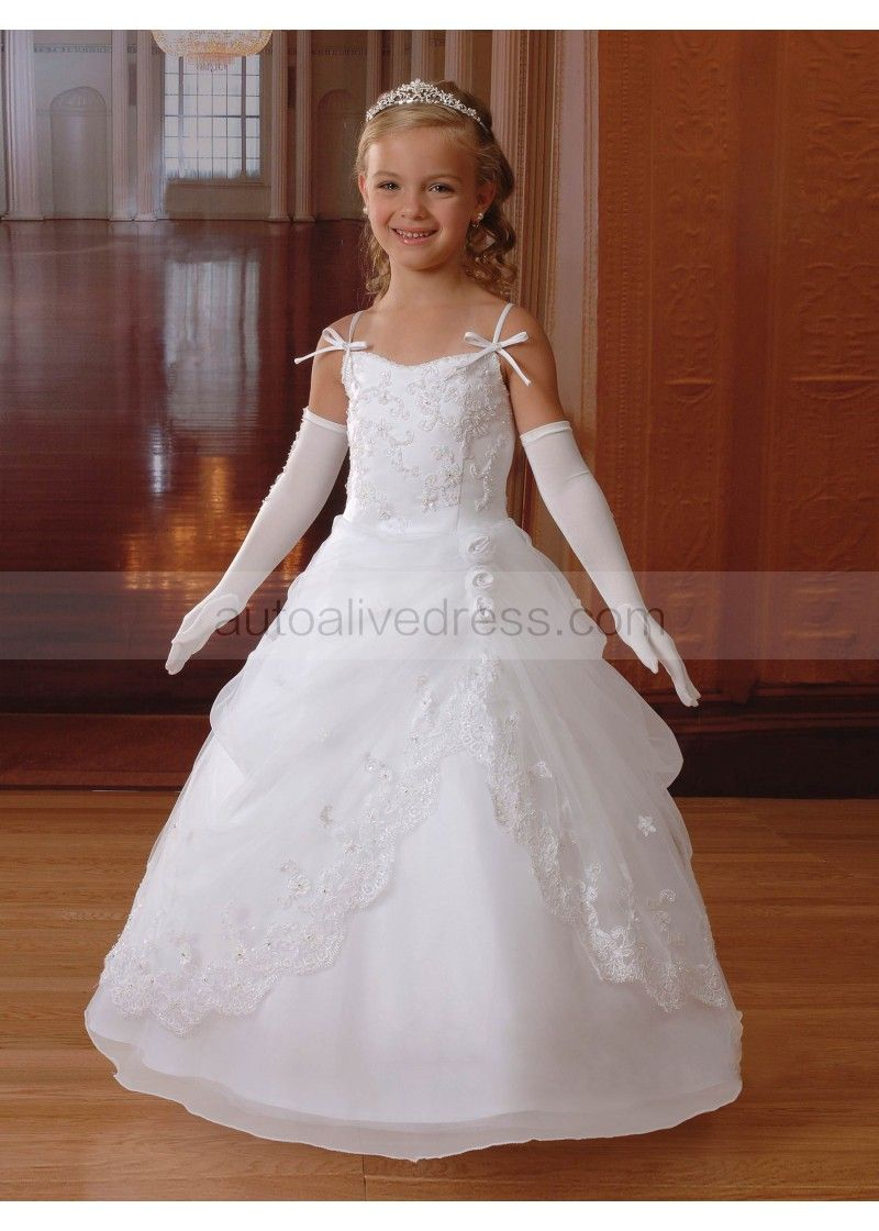 212059b0828b Princess Beaded Lace Organza Floor Length Wedding Flower Girl Dress with  Jacket