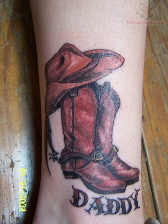Cowboy boots and hat tattoo memorial daddy shoes tattoo for Cowboy boot tattoo