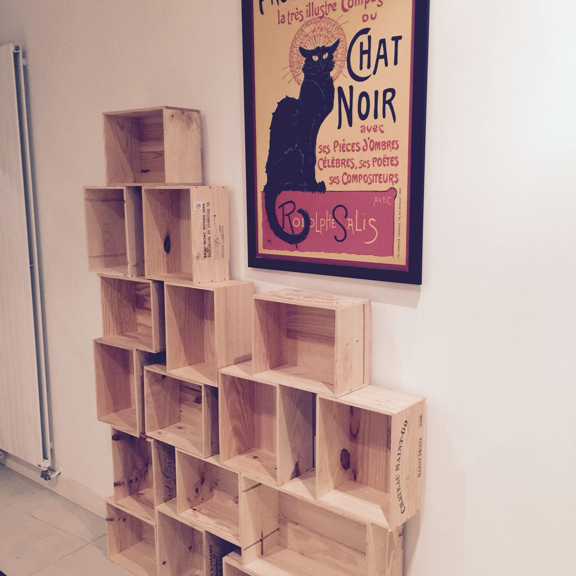 tag re en caisse de bois vin tableau chat noir creationdelphine d co en 2018 pinterest. Black Bedroom Furniture Sets. Home Design Ideas