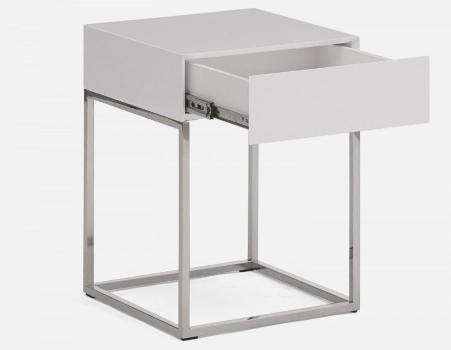 Sora White Lacquered End Table With Storage 40cm Structu End