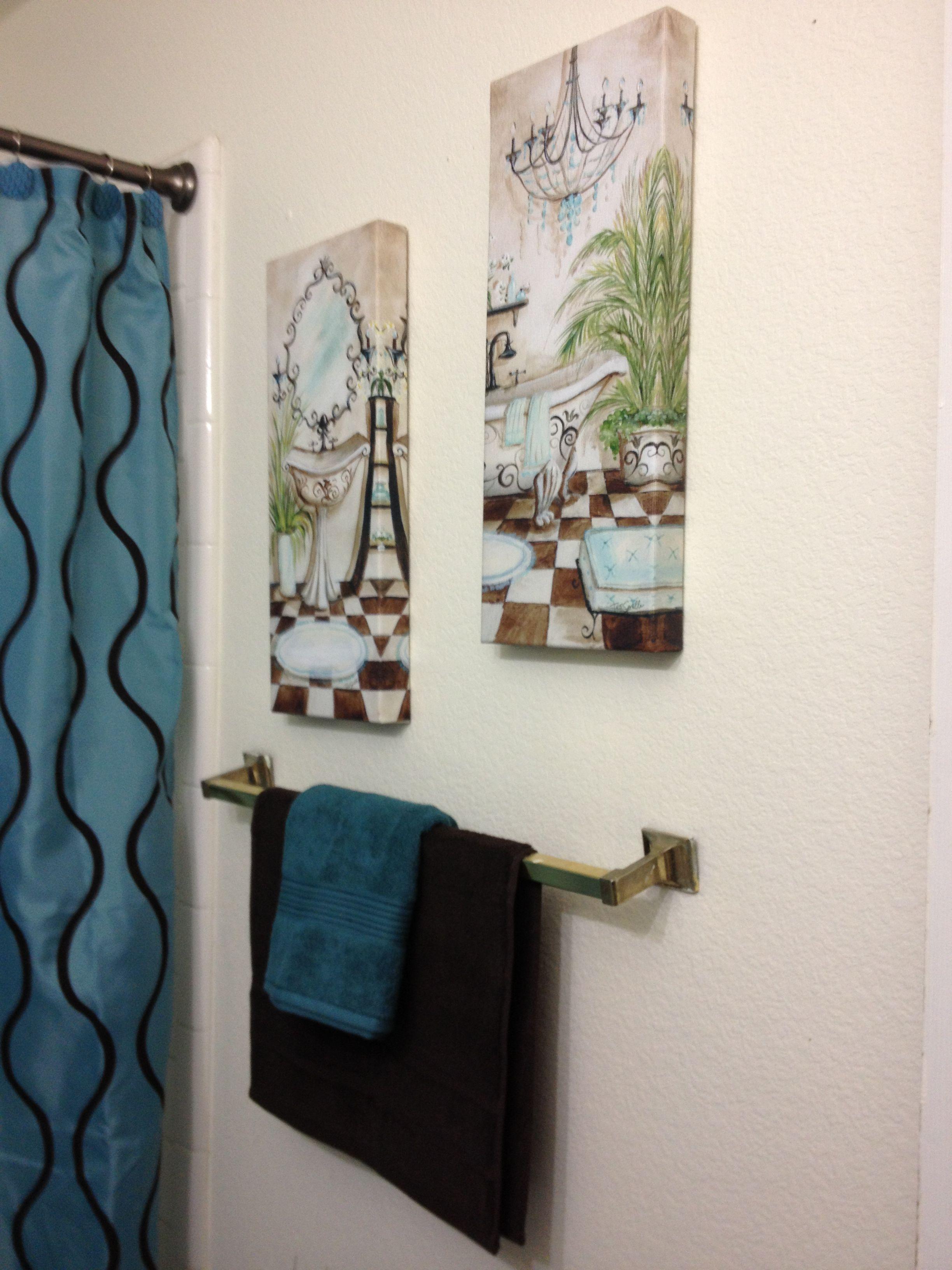 interesting teal brown bathroom decor