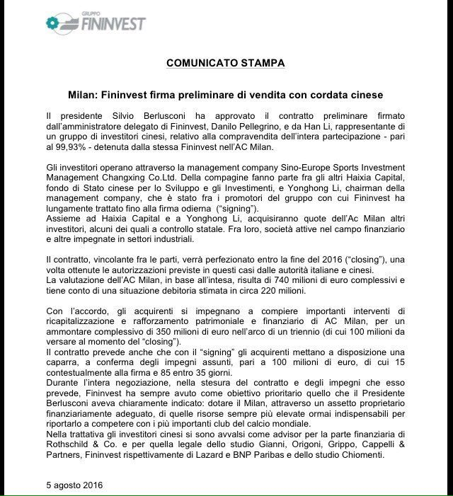Official Statement From Fininvest The Preliminary Agreement Has