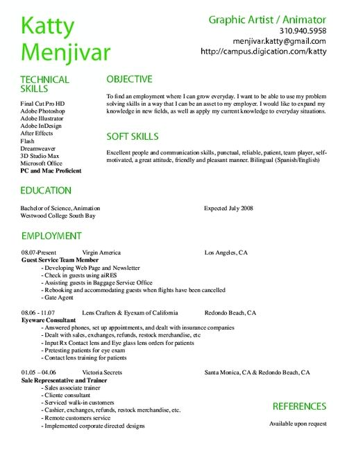 animation resume examples