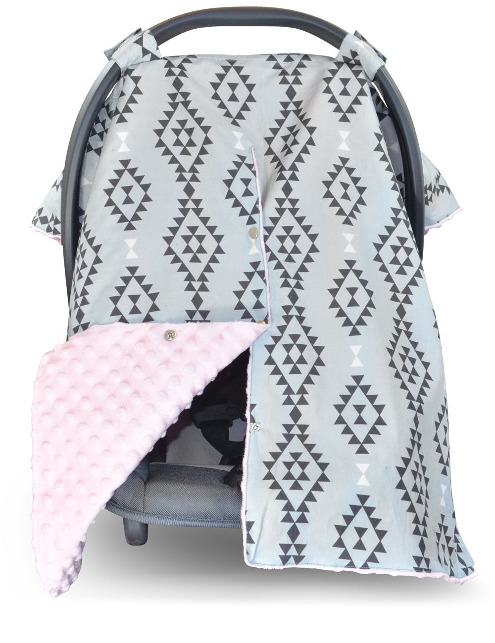 Aztec Car Seat Canopy With Baby Pink Dot Minky And Peekaboo Opening Baby Car Seats Baby Carseat Canopy Car Seats