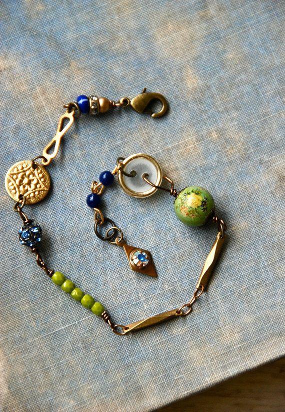 Beaded Charm Bracelet  Charms  Green Glass Beads  Silver  Wire Wrapping  Handmade  Birthday  Anniversary  Glass  Boho  Bohemian