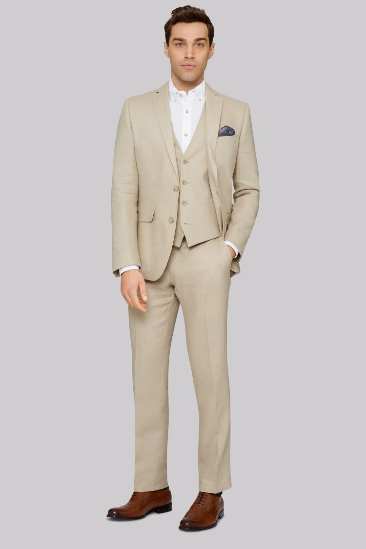 33d92e2e2d Moss London Slim Fit Beige Lightweight Linen Jacket | Here Comes the ...