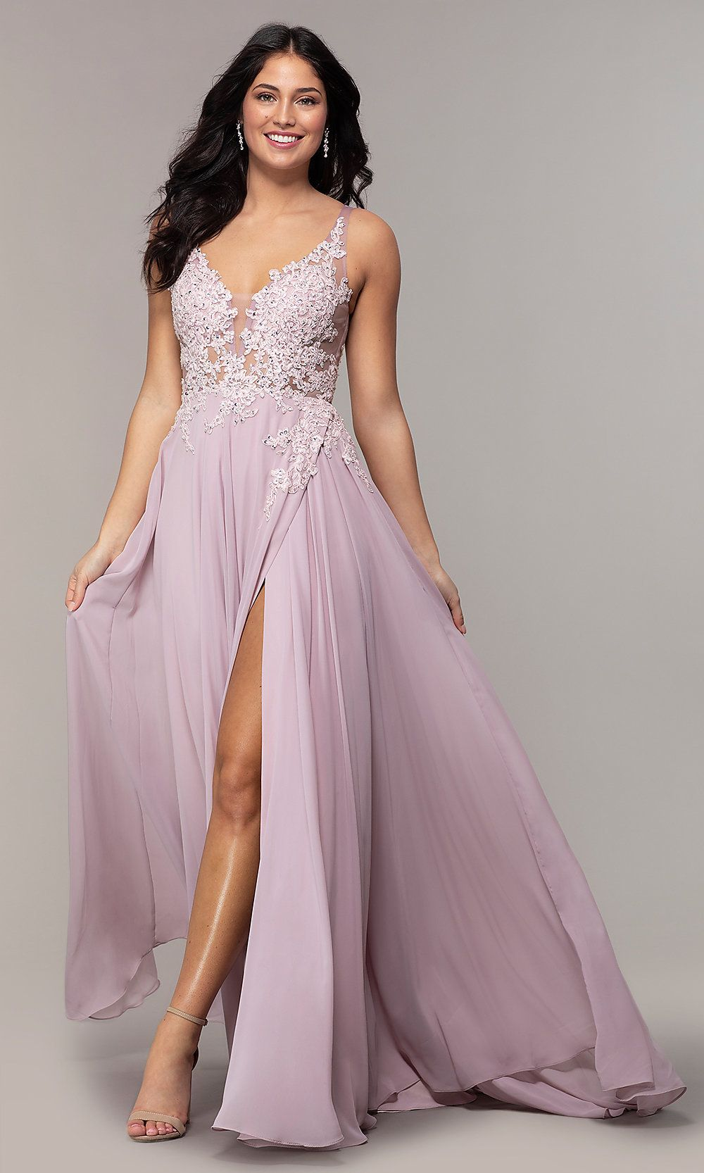 Long Faux-Wrap Ivory Chiffon Prom Dress by PromGirl   Boho