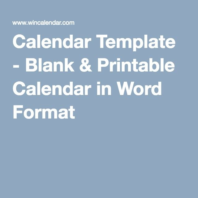 Calendar Template - Blank  Printable Calendar in Word Format
