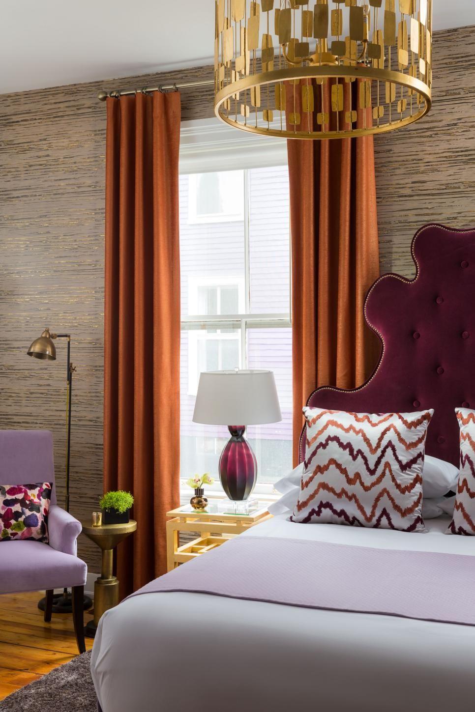 Eclectic Bedroom With Burgundy Headboard Burnt Orange Curtains