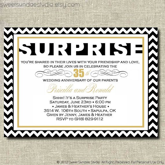 surprise anniversary party printable party by sweetsundaestudio