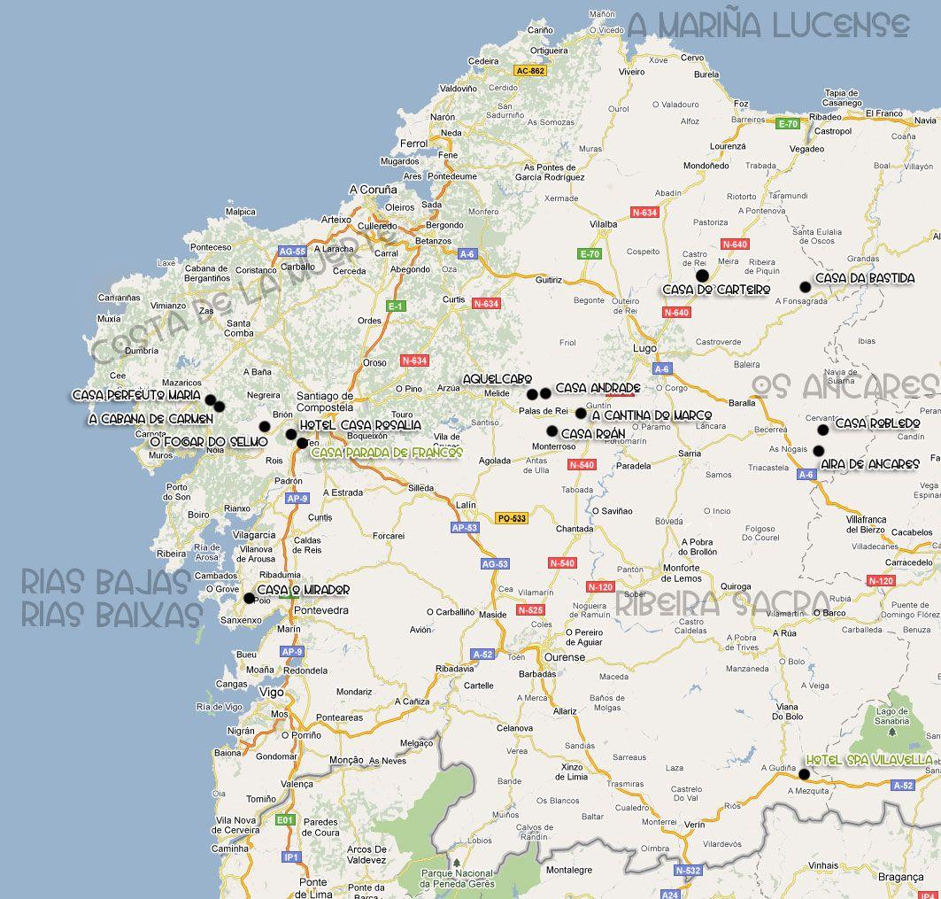 Mapa galicia turismo rural casas rurale sy alojamientos - Casas rurales portugal ...