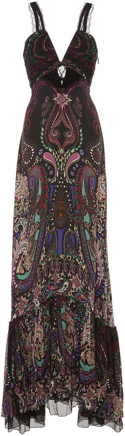 Roberto Cavalli Paisley Flounce Evening Gown | fashion | Pinterest ...