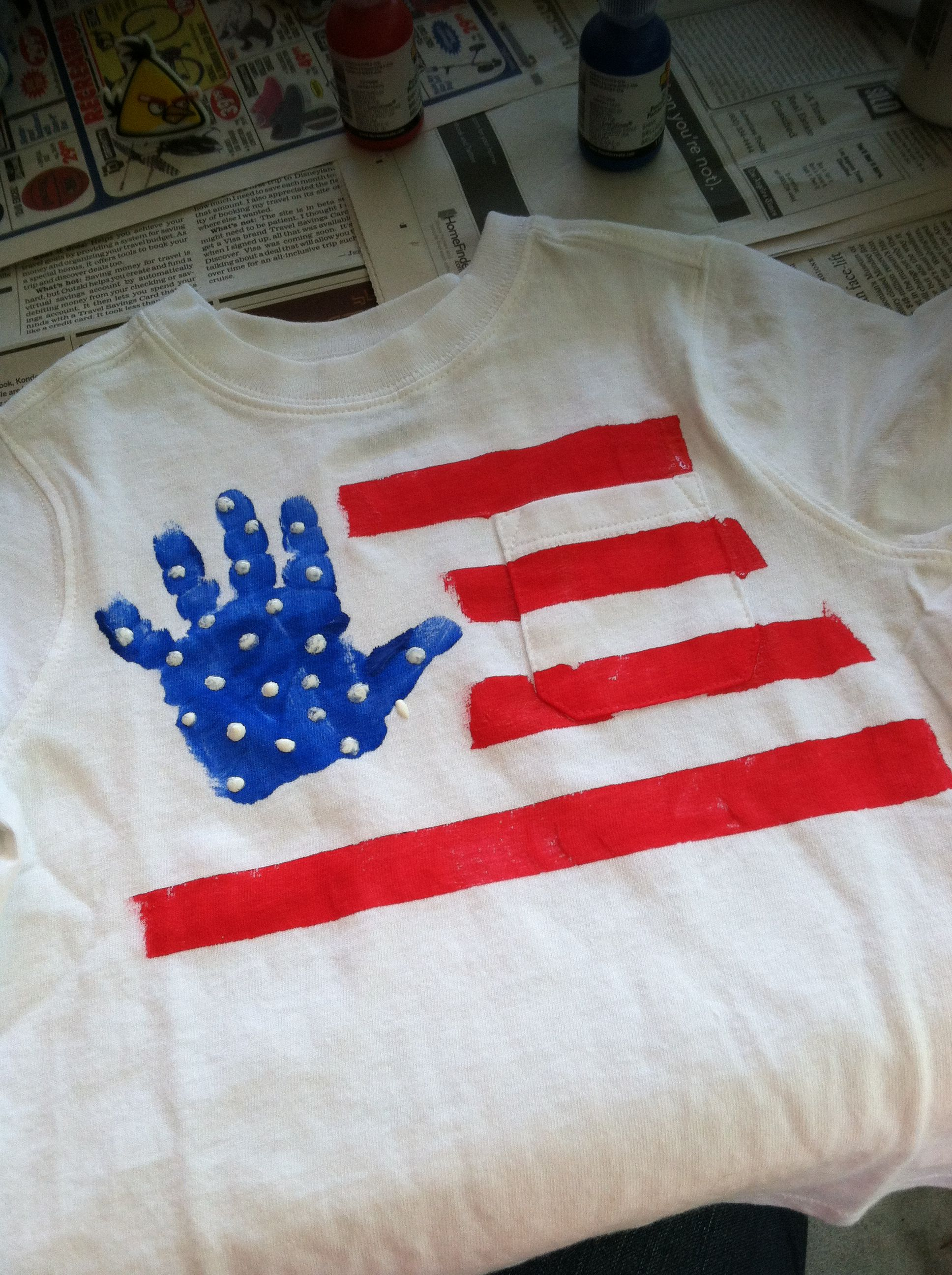 Fourth Of July Handprint Art Toddler Tshirt Project Diy Sunday School Kids Christian Art