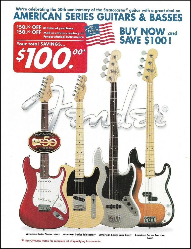 Fender American Series 50th Anniversary Stratocaster Guitar Bass Advertisement Fender In 2020 Stratocaster Guitar American Series Squier