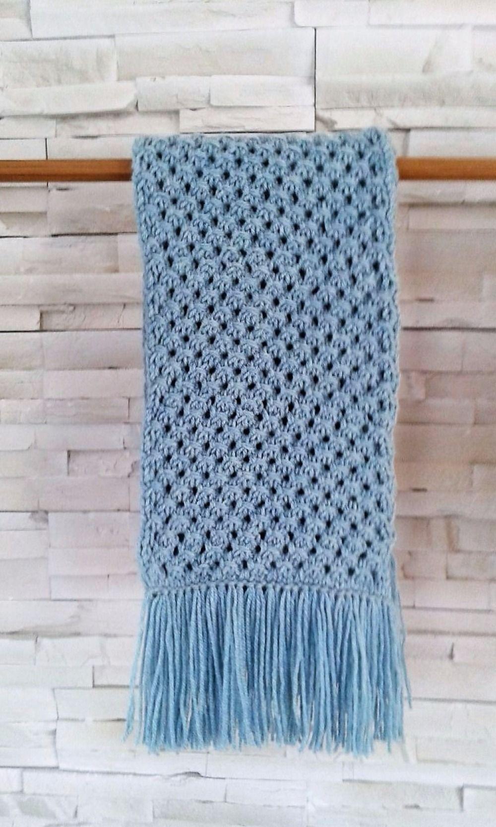 Douceur océan pour cette écharpe tricot Fait main   Créations Femme ... 76d40272afd