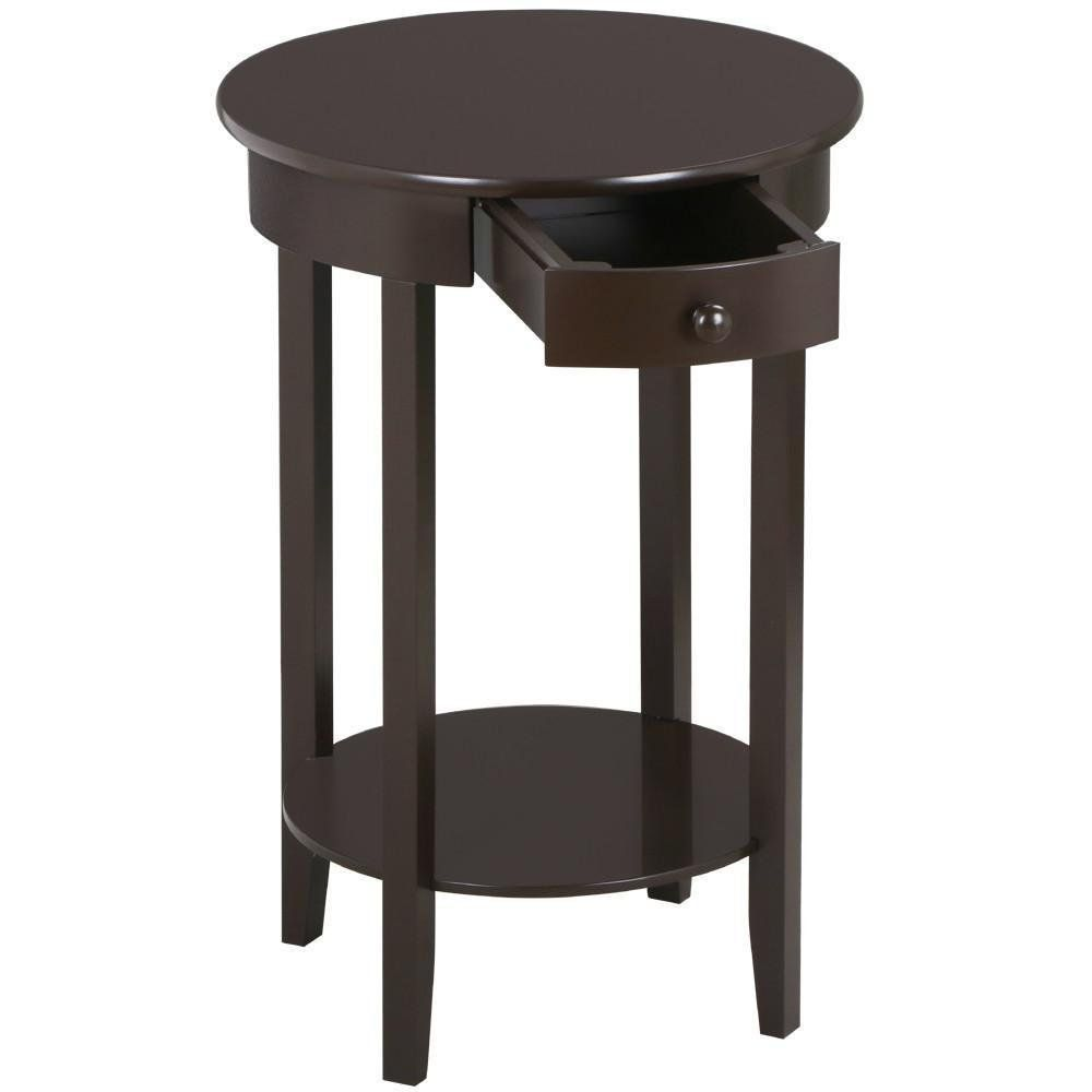 Marvelous Topeakmart Tall Round Sofa Side Table With Drawer And Shelf Rustic Espresso