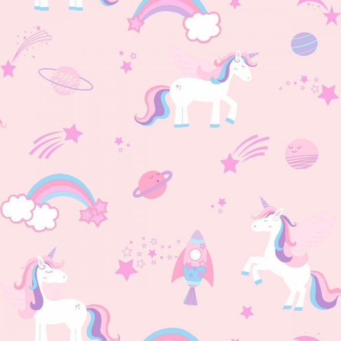 Over The Rainbow Unicorns And Rockets Wallpaper Pink Holden 90961 Unicorn Wallpaper Cute Unicorn Wallpaper Glittery Wallpaper