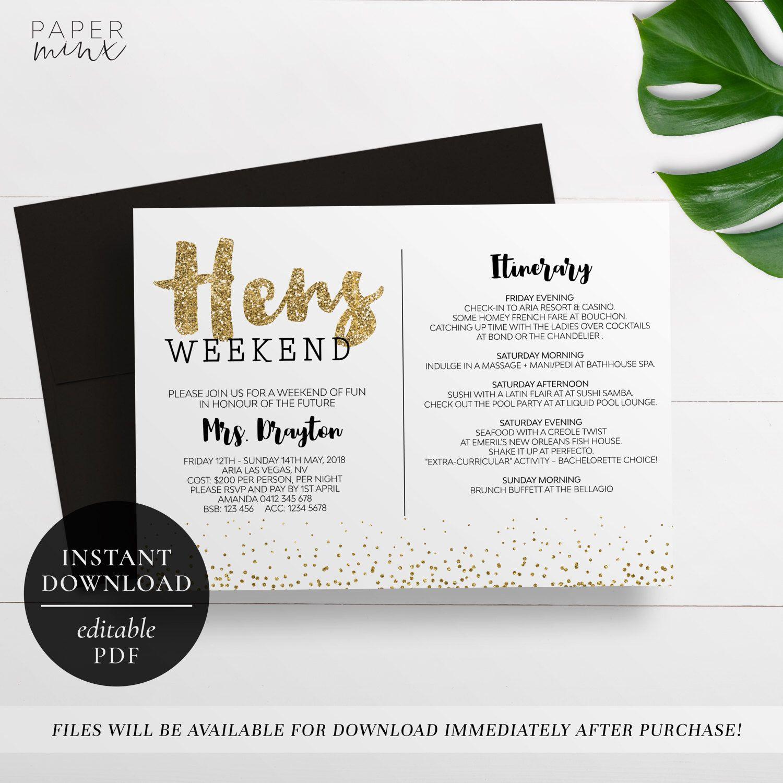 Printable Hens Weekend Invitation Editable Pdf Bachelorette Weekend Hens Party Gold Glitter Itinerary Invitation Gold Invitation Hen Weekend Itinerary Invitation Hens Party Invitations