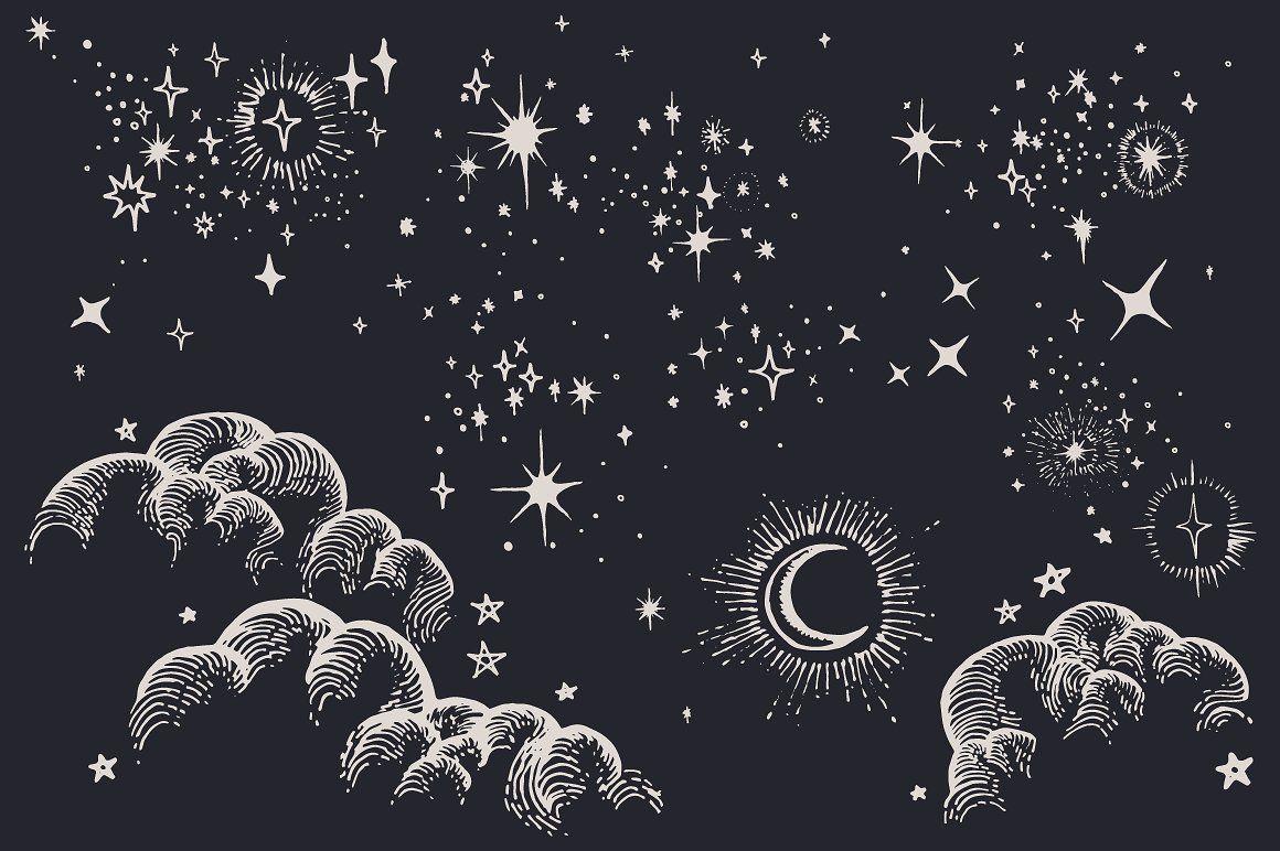небо звезды рисунок карандашом если этот