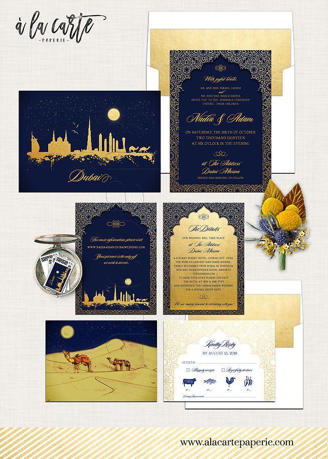 Dubai United Arab Emirates Arabian Nights Navy Blue Gold illustrated - fresh wedding invitation card on whatsapp