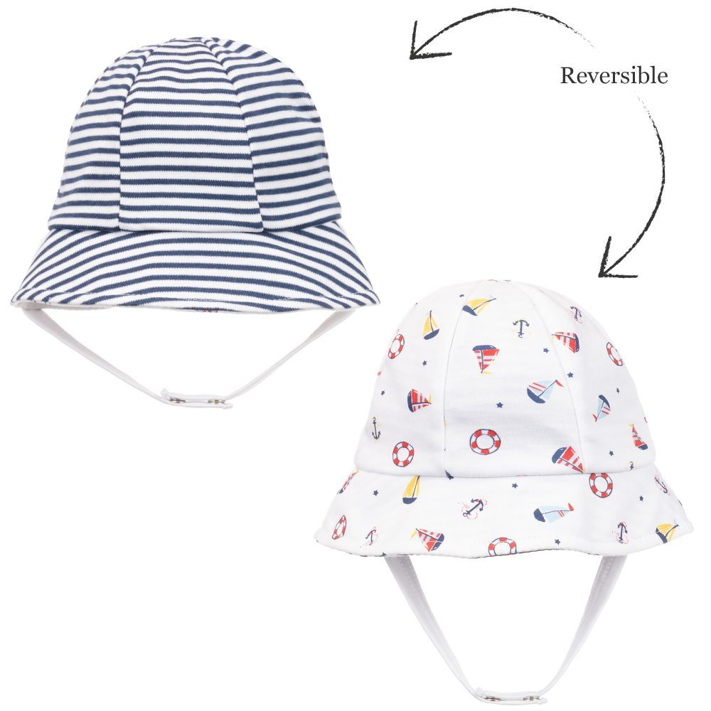 5b2c05485 Beautifully soft, double layer Pima cotton sun hat for baby boys and ...