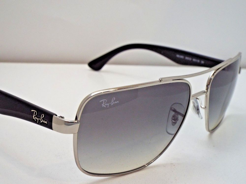 1294084f51 Authentic Ray-Ban RB 3483 003 32 Silver Black Light Grey Gradnt Sunglasses   215