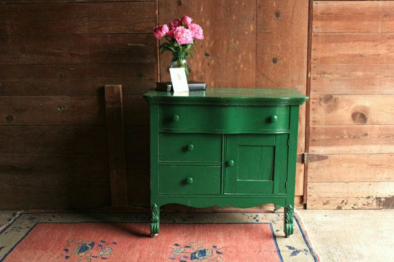 Vintage Green Dresser Small Dresser Wood Dresser Antique