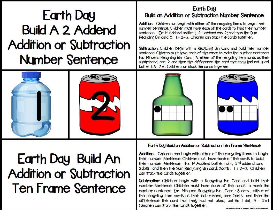 Earth Day 2 Addend Addition Amp Subtraction With Ten Frames