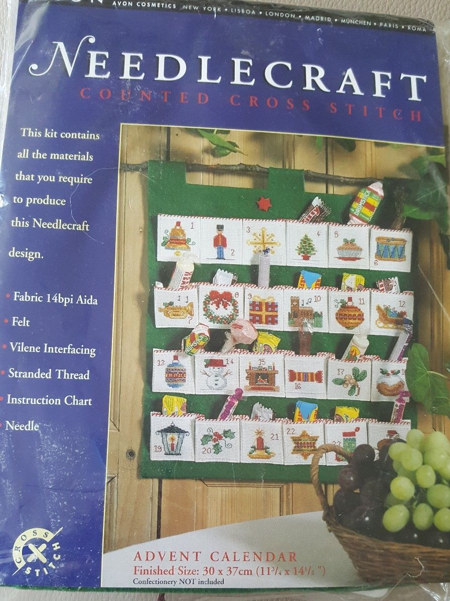 Avon Needlecraft Cross Stitch Advent Calendar Kit Opened Just To Sort Threads And Wind Around Cardboar Advent Calendar Kit Advent Calendar Vintage Christmas