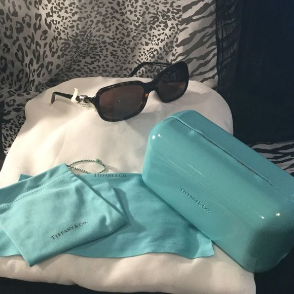 """Tiffany & Co Sunglasses fashion Eyewear Authentic AUTHENTIC Tiffany & Co. Sunglasses Tf4023.. Gorgeous design comes with sunglasses pouch, cleaning cloth, with Case. 5.5"""" These sunglasses have worn.. Very little wear.  EUC Tiffany & Co. Accessories Glasses"""